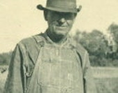 Old Farmer Vintage Black and White Photograph Photo Standing by Farm Pond Denim Overalls Favorite Hat Work Clothes Farming