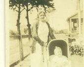1920s Lindenhurst NY Photo Grandmother Baby Girl In Carriage Wicker Pram Sidewalk Summer Antique Photograph