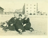 3 Proper Old Ladies Black Suite Dresses and High Heels Sitting on the Beach Sand 1930s Photo Photograph