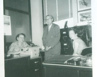Vintage 1940s General Motors Office Work Photo Black and White Photograph Mr Franks Ruth Aggie Cars Secretary Boss