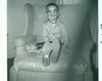 Vintage 1961 Photo Little Boy BB Gun Fake Mustache Robber Costume Photograph Sitting on Chair Holding Gun Playing Dress Up Cops Robbers