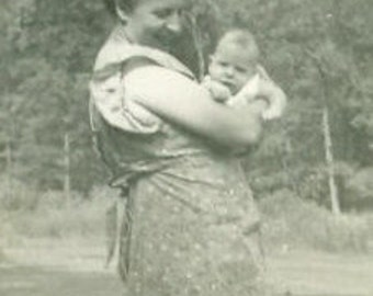 Vintage 1940s Photo New Mother Holding Baby Outside Wearing Apron on a Sunny Summer Day Photograph 1940s World war 2 era