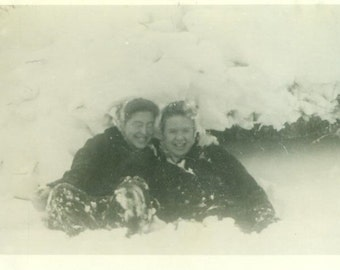 Snow Day Vintage Photograph Sisters Playing in the Snow Pile Winter 1940s Photo