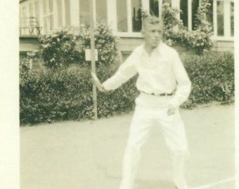 Vintage 1920s Photo Man Playing Tennis White Pants Long Sleeve Shirt Court at Country Club Photograph Upper Class