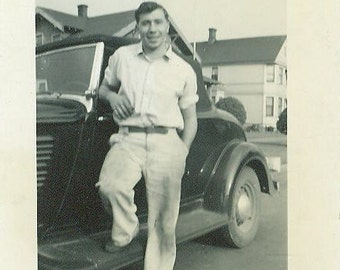 Happy Man Posing With His Car 1930s Photo Working Man Dirty Pants White Shirt Vintage 30s Classic Black Car Sideboard