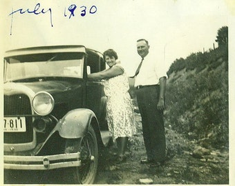 July 1930 Photo Husband Wife With Black Car Posing on Side of the Road Trip Travel Traveling Ford Vintage Photograph