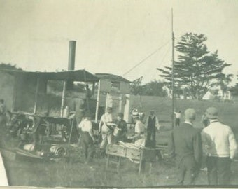 Circus Coming to Town Antique Photo Tent And Camp Set Up Wagon Work Men Setting Up Building Tent Farm Field Vintage Photograph