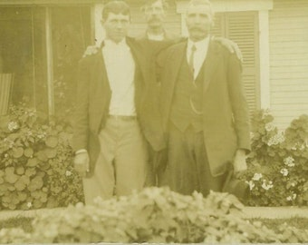 3 Generations Men Father Son Grandfather RPPG Real Photo Postcard Vintage Photograph Standing Outside Front Porch Summer Day