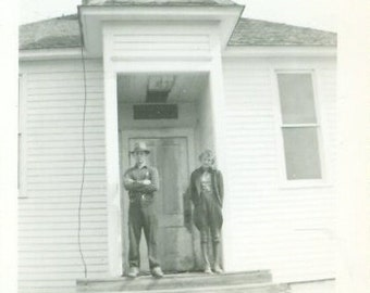 Standing on the Church Steps Vintage Photo Rurla Midwest Farm Farmer Wearing Lace Up Boots Antique Photograph