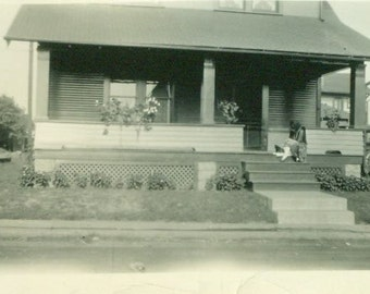Black Cat Flapper 1920s Woman Sitting on Front Porch Steps With Kitten Photo 20s 1928 Home Photograph