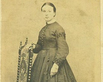 Poughkeepsie NY Civil War 1860s Woman Standing in Black Dress CDV Antique Studio Portrait With 2 Cent Revenue Tax Stamp Photo Photograph