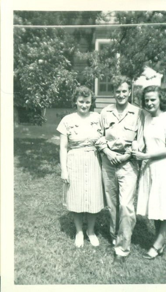 Vintage 1930s Photo Man 2 Women Curly Hair Striped Dress Bows Outside Yard Summer Day Black and White Photograph