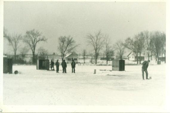 Vintage 1920s 30s Men Ice Fishing Photo LaCrosse Wi Wisconsin Winter Lake Fish Shacks Shanties Cabins