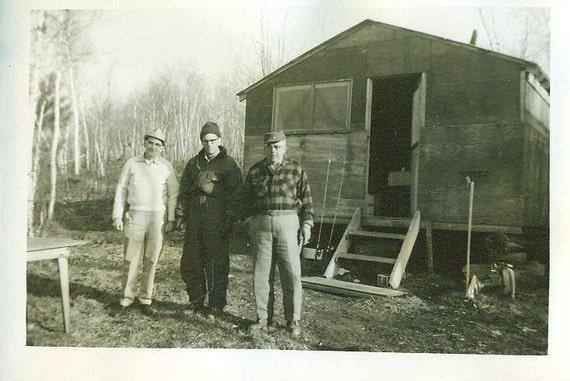 North Woods Fishing Camp Cabin 3 Men Fishing Rods Plaid Shirt Camp Hats Hunting Lake Cabin Fish