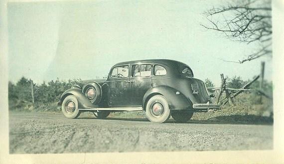 Vintage 1930s Original Car Photo Black Art Deco Sedan on Rural Farm Road Parked Wood Fence Colored Photograph