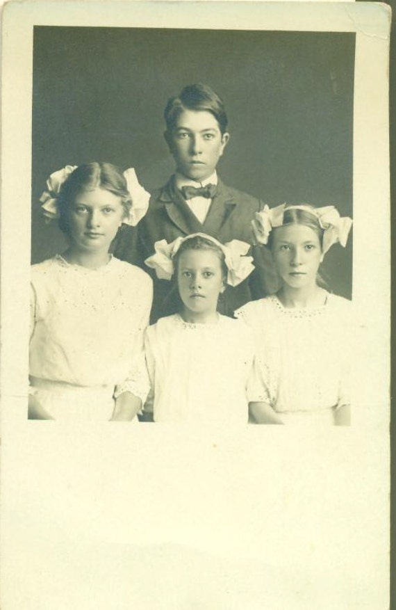 Antique 1910 Sisters Brother Morrill Family Studio Portrait Real Photo Postcard RPPG Big White Bows in Hair White Dress Girls Boy