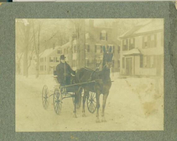 Horse Buggy Carriage Cart Antique Cabinet Photo Winter New England Town Street Photograph New York Philadelphia