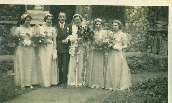 1930s European Wedding Day Photo Bride Groom Woodland Bridesmaids Hats Gloves Photograph Standing Catholic Church