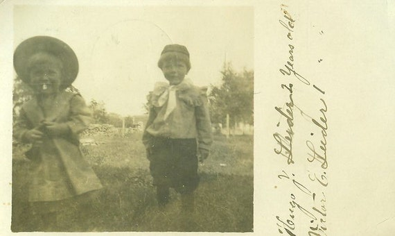1910 New Richland Minnesota Little Boys Real Photo Postcard Toddlers Victor Heugo Leider Antique Photograph