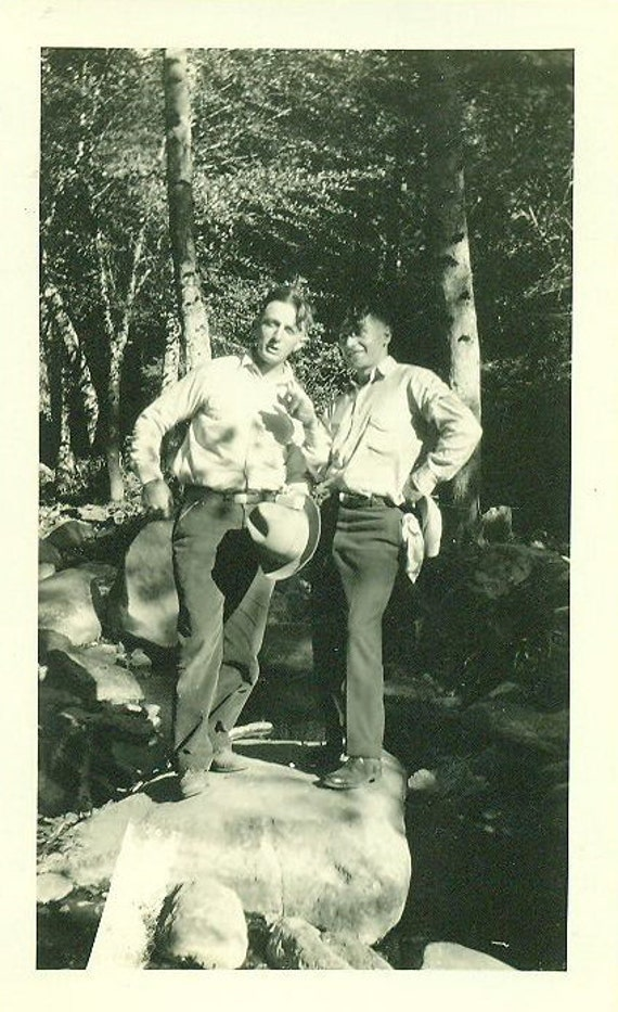 Cam and Ned 1920s Men Hiking Standing on Big Rock Stream Summer Fun Western Cowboy Hat Trail Hike Woods 20s Photo Photograph