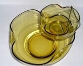 Vintage Amber or Gold Glass Chip and Dip Set or Bowls