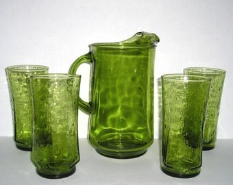Olive Green Beverage Set a Pitcher and Four Bark Textured Glasses