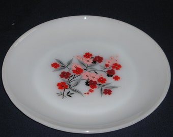 Fire King Primrose 7 1/2 Inch Luncheon Plates, 4 Plates, Milk Glass Plates with Red, Pink, Grey, Black Flower Design Anchor Hocking Fireking