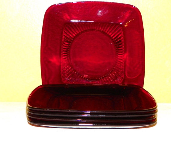 Anchor Hocking Charm Ruby Red Glass Charm Pattern, Lunch Plates, Set of 5