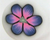 Polymer Clay Cane, Pink and Blue Flower, Raw, Unbaked Clay