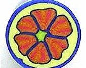 Polymer Clay Cane, Retro Orange Flower on Yellow Background with Blue Border