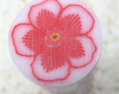 Polymer Clay Floral Cane, Red with Translucent Background