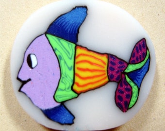 Fun Fish Freddy, Colorful Polymer Clay Cane