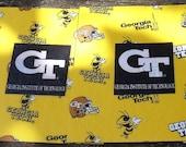 GA Tech Yellow Jackets Rambling Wreck Coasters Mug Rugs Set of 4 Large Coasters with Cork Backs Spill Resistant