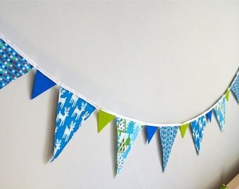 Blue Christmas Bunting Banner