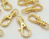 25 Mini Gold Plated Swivel Lobster Clasps Clips H61-25