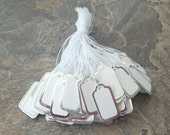 100 White Jewelry String Price Tags Silver Trimming PT3-100