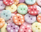 70(pcs) Round Gingham Buttons 10 Color EB43