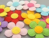 Lot of 30 Padded Felt Flower Appliques 10 Color EA75