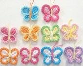 10(pcs) Crochet Butterfly Appliques 10 Color EA117