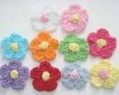 100(pcs) Crochet Flower Appliques 10 Color EA83
