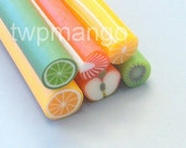 6 Fruit Polymer Clay Canes...Assorted Fimo Fruit...Nail Art...Minature...Cane Bar...N2
