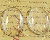 10 Clear Oval Glass Cabochon Dome...30x40mm...Cameo...Transparent...N32