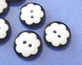 20pcs Round Buttons...Flower Shaped... Double Sided...Black and White... Sewing... EB141