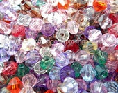1000pcs Faceted Acrylic Transparent Bicon Beads...6mm...N55