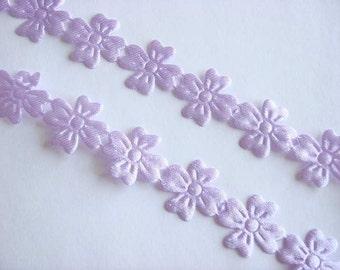 5 yards Lavender Satin Embossed Flower Trim Scrapbooking T6
