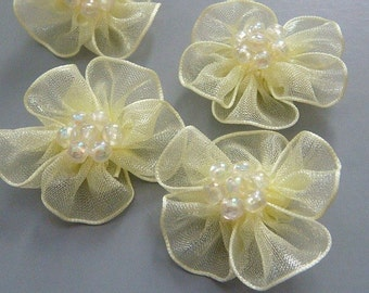 10 Yellow Organza Flower Appliques Glittering Bead EA82-2