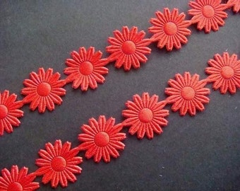 5 Yards Red Satin Embossed Flower Trim  Scrapbooking T9