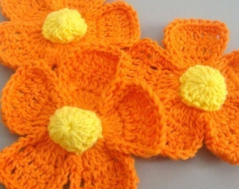 5 Large Handmade Crochet Flower Appliques..Orange..EA114-4