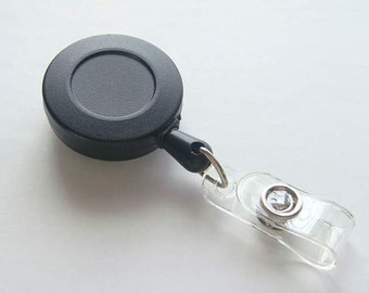 Lot of 100 Black ID Badge Reels...Retractable cord...belt Clip.....Great For Covered Button / Bottle Cap....and more K66-100