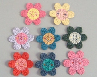 8 Crochet Flower Appliques... Smiley Face...Sunflower...8 Colors EA138